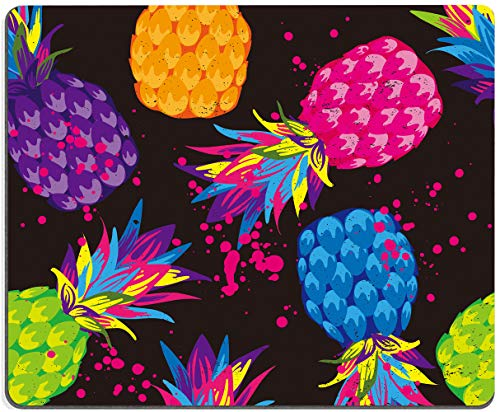 Mouse Pad, Colorful Pineapple Mouse Pad, Black Background MousePad, Gaming Mouse Mat, Square Waterproof MousePadNon-SlipRubberBaseMousePadsforOffice HomeLaptopTravel,9.5'x7.9'x0.12'Inch
