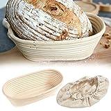 SOWLFE Juego de cestas de Pan fermentado elíptico - Combinación de Cojines de Cesta de Pan fermentado de ratán | Elaboración Profesional de Pan casero Artesanal