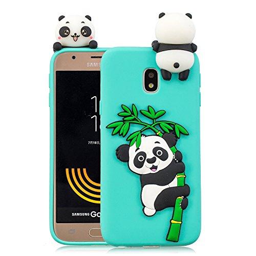 Leton Cover per Samsung Galaxy J5 2017 Silicone Panda 3D Morbido TPU Gel Custodia Galaxy J530 Antiurto Ultra Sottile Flessibile Gomma Case Protettiva Bumper Candy Copertura 3D Papa Panda Verde