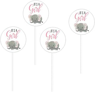 24 Pack Pink Girl Elephant Baby Shower Collection It's A Girl Cupcake Topper Pinkcs Birthday Party Baby Shower Favors