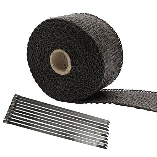 TAKPART 5M x 5cm Hitzeschutzband Schwarzer Hitzeschutz Auspuffband Titan Auspuff Wärmebänder für Motorrad mit 10 Kabelbindern 20cm
