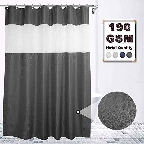 VCVCOO Top See Through Waffle Fabric Shower Curtain 72x72 Inch with Sheer Voile Window Allow Privacy,Charcoal Grey Shower Curtain Let Light in for Bathroom Washable