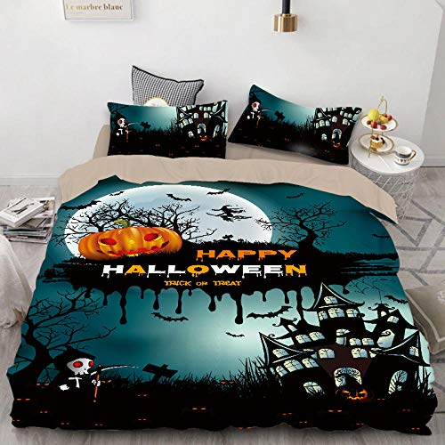 geek cook Bed sheet set queen,Quilt Cover Printed Three-piece Set Halloween Western Festival All Saints Day Ghost Quilt Cover-13_AU Single(140X210)