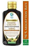 Liquid Turmeric Curcumin w/Bioperine 1650mg Maximum Strength | Highest Potency of Turmeric, Black Pepper & Vitamin C | Anti-Inflammatory, Joint Support & Pain Relief | 98% Absorption Rate | 32 Serv
