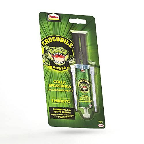 Pattex Crocodile Power Cola Bicomponente 1 Min, resina epoxi con jeringa con mezcla instantánea, pegamento epoxi rápido – Incluso para superficies irregulares, 1x11ml