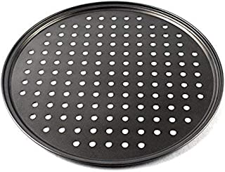 Black 28 1CM Hemoton Nonstick Pizza Pan with Holes Reusable Baking Tray Roasting Pan for Restaurant Home Hotel
