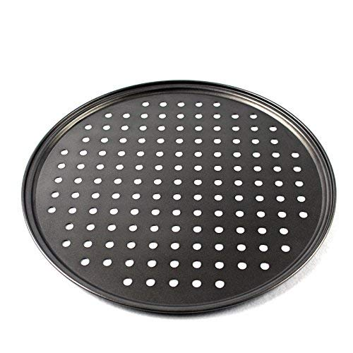 Breakdou pizza pan,13 inch round Non-Stick Carbon Steel pizza pan with hold for for Home Kitchen