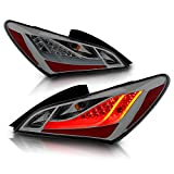 AmeriLite Smoke Lens LED Bar Replacement Taillights Set for Hyundai Genesis Coupe - Passenger and Driver Side
