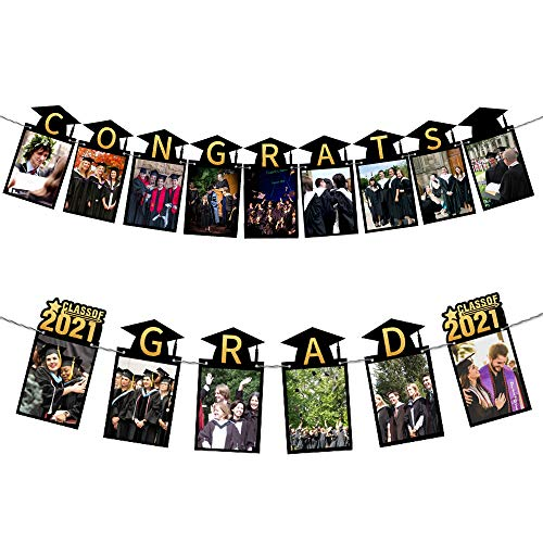Graduation Photo Banner - Class of 2020 Black and Gold Congrats Grad Banner Sign - Perfect Graduation Decor for Home/College/Senior/Law/High School Prom Party Decorations Supplies, Set of 2Pieces