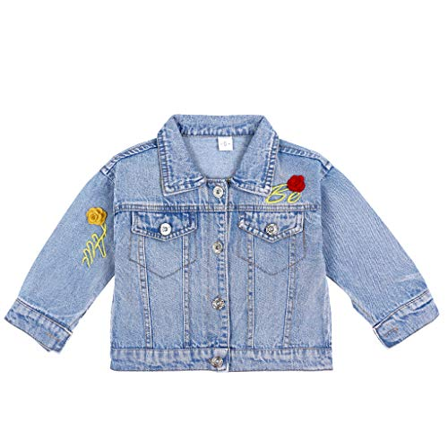 Giacca di Jeans Bambina Cappotto Jean Blu Giacca Denim Infantile Fiore Outwear Primavera Autunno...