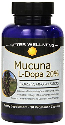 Mucuna L-Dopa 20% | Made in USA | Pure Mucuna pruriens Extract | 90 Vegetarian Capsules | High L-Dopa Levels