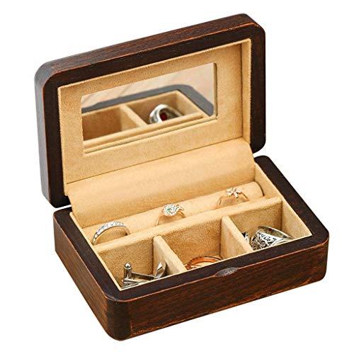 DLYDSSZZ Schmuckschatulle aus Holz Portable Schmuckschatulle mit Make-up-Spiegel-Ohrring-Ring-Kasten mit Amuletten Fleece-Futter als Geschenk Uhrenbox (Color : Brown, Size : 12 * 8 * 5 cm)