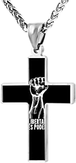 Simple Small Zinc Alloy Religious Cross Necklace For Men Women,Print Libertad Human