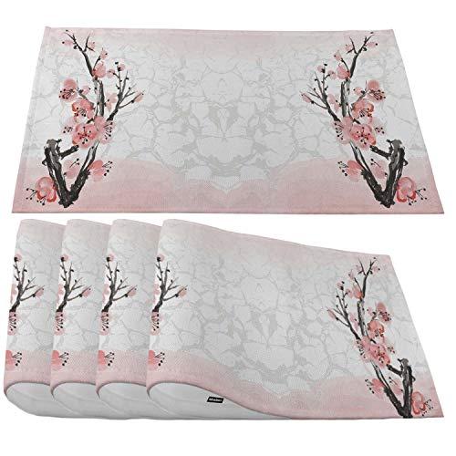 Moslion Sakura Blossom Platzsets, japanischer rosa Kirschbaum auf weißem Hintergrund, Platzsets für Esstisch/Küchentisch, wasserdicht, rutschfest, hitzebeständig, waschbar, 4 Stück