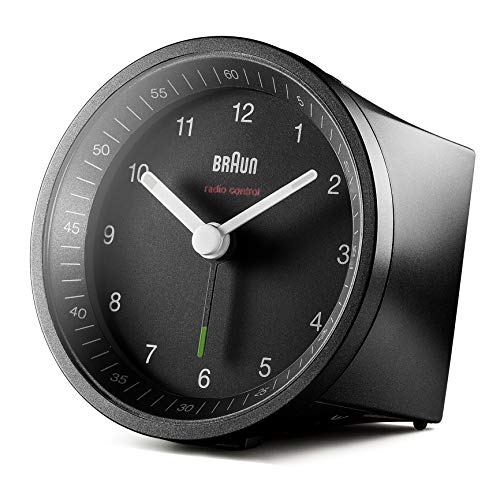 Braun Classic Radio Controlled Analogue Clock for Central European Time Zone (DCF/GMT+1) with Snooze and Light, Quiet Movement, Crescendo Beep Alarm in Black, Model BC07B-DCF, One Size