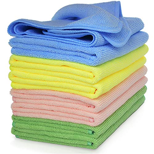 """Premium Microfiber Cleaning Cloth By VibraWipe, 8-Pack, Large Size 14.2""""x14.2"""", Super Soft, Use As..."""