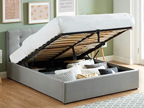 HOMIFAB Lit Coffre 140x190 en Tissu Gris Clair avec tête de lit et sommier à Lattes - Collection Tina
