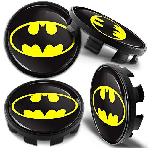Biomar Labs 4 x 68mm Cache-Moyeu Capuchons de Centre Enjoliveurs de Roué Voiture Jante Cache-Moyeux Compatible avec BMW Cache Moyeux Numéro de Pièce 36136783536 Batman Logo CB 39