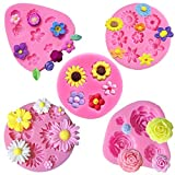 Flower Fondant Cake Molds-5 Pcs-Daisy Flower,Rose Flower,Chrysanthemum Flower and Small Fl...