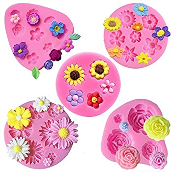 Flower Fondant Cake Molds-5 Pcs-Daisy Flower,Rose Flower,Chrysanthemum Flower and Small Flower,Candy Silicone Molds Set for Chocolate Fondant Polymer Clay Soap Crafting Projects & Cake Decoration