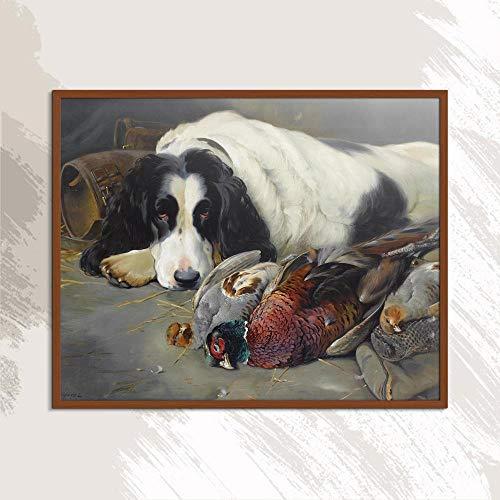 YWOHP Perro Animal Lienzo Europeo Pintura al óleo Pintura sin Marco Cuadrado Sin Marco Cuadrado Color Pintura Aerógrafo Regalo Figura Vida ro-50x40cm