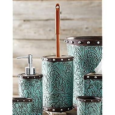 Black Forest Decor Tooled Turquoise Flowers Toilet Brush Holder