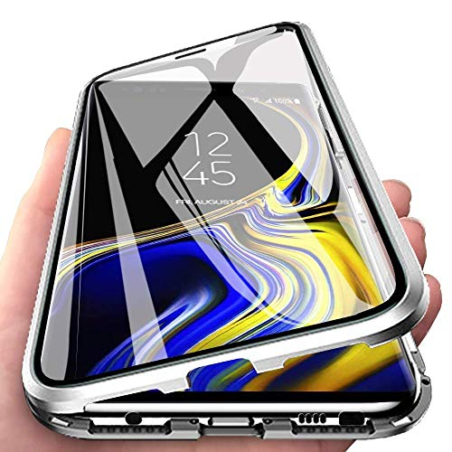 SIMao Funda para Xiaomi Poco F3 5G Carcasa 360 Grados Protección Case Adsorcion Magnetica Cobertura Frontal y Posterior Vidrio Templado Estuche Anti Choque Caso Aluminio Metal Flip Cover,Plata