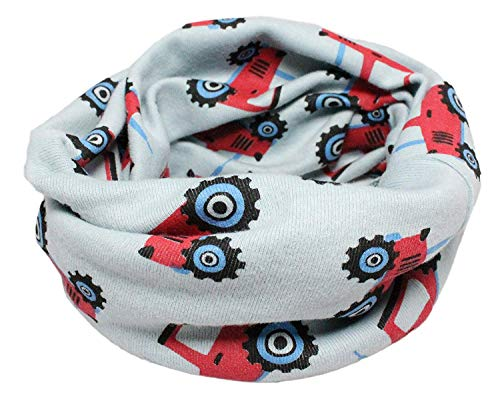 Colourful Baby World Enfant en coton multiusage Bandana Bonnet Tour de cou (Tracteur bleu gris)