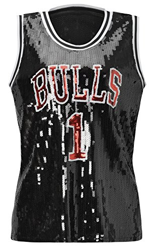 Howriis Women's Black Sequins Basketball Tank Vest (One Size, Black)