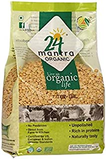 Organic Toor Dal - Organic Split Pigeon Peas (Toor Dal) -USDA Certified Organic - European Union Certified Organic -Pesticides Free - Adulteration Free - Sodium Free - 4 Lbs - 24 Mantra Organic