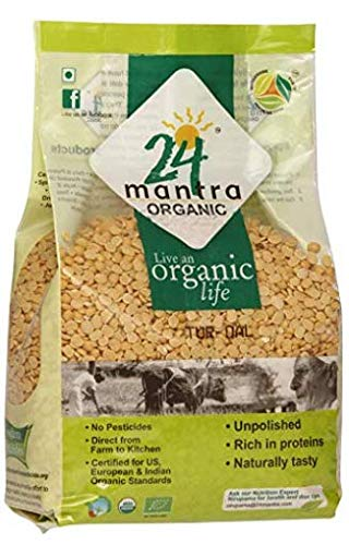 Organic Toor Dal - Organic Split Pigeon Peas (Toor Dal) -USDA Certified Organic - European Union Certified Organic -Pesticides Free - Adulteration Free - Sodium Free - 4 Lbs - 24 Mantra Organic