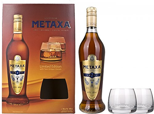 Metaxa 7 Stern mit Geschenkverpackung mit 2 Gläsern (1 x 0.7 l)