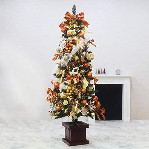 クリスマスツリー おしゃれ 北欧 180cm 木製 ポット ウッドベーススリムツリー LED付き オーナメントセット ツリー スリム ornament Xmas tree daydream 1(キャラメル グリーン)