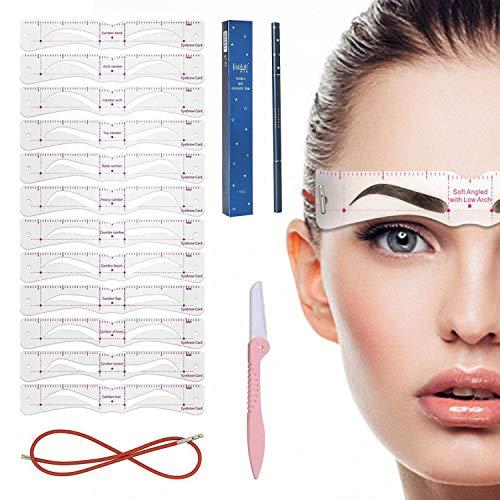 HENGBIRD 4D Augenbrauen Schablone für Anfänger, 12 Stile Augenbrauen Schablonen Set mit Festes Seil und Augenbrauenrasier, Wiederverwendbar DIY Stempel für schnell Make-up