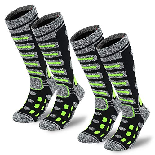 Camlinbo 2 Pair Ski Socks Skiing Snowboarding Cold Weather Winter Outdoor Sports Socks for Women Men Sock Sock 2 Black L