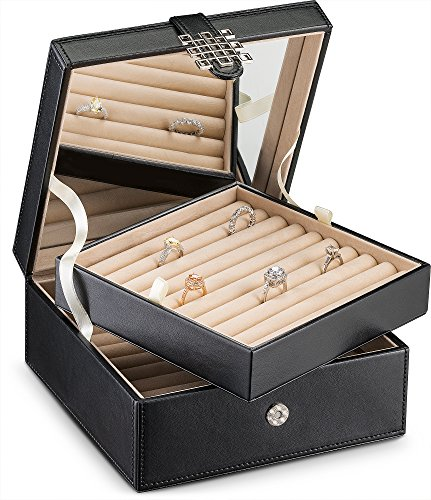 Glenor Co Ring Organizer Box - 108 Slot Classic Jewelry Display Holder - 2 Storage Trays with Modern Buckle Closure, Large Mirror - Holds Rings and Cufflinks - PU Leather Case - Black
