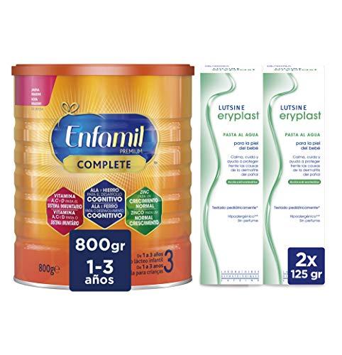 Enfamil Premium 3 - Leche infantil de Continuacion para Lactantes niños de 1 a 3 años - 800 g + Eryplast Lutsine E45 Pasta al Agua Crema Pañal Bebé - 2 x 125 ml