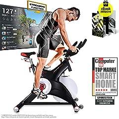 Sportstech Indoor Speedbike SX500 | Niemiecka marka jakości + wydarzenia wideo & multiplayer APP | 25kg koło zamachowe & cichy napęd pasowy | Kompatybilny z pasem impulsowym + pedały Kliknięć SPD | Waga użytkownika max. 150kg