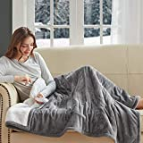 """Degrees of Comfort Plush Sherpa Electric Heated Throw Blanket for Winter, Grey 50"""" X 60"""" 