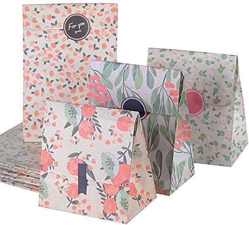 AONER 24 x Bolsas Regalo Caramelo Galletas Boda Navidad Papel Flor 13 x 8 x 23cm con Pegatinas 4 diseños (13 x 8 x 23 cm, Flores)
