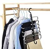 Perchas para Pantalones, Perchas de Armario de Ahorro de Espacio 6 Capas 2 Usos Multi Funcional Percha para Pantalones Pechero Organizador de Armario para Pantalones Bufandas Corbatas (Black-1PCS)
