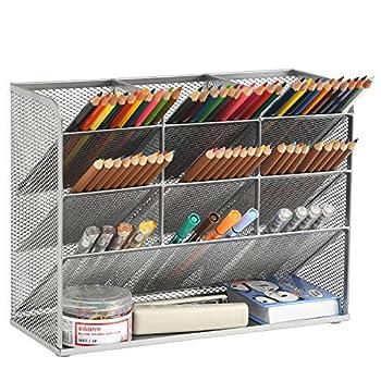 Marbrasse Mesh Desk Organizer Multi-Functional Pen Holder Pen Organizer for desk Desktop Stationary Organizer Storage Rack for School Home Office Art Supplies  Mesh Pen Holder-Silver