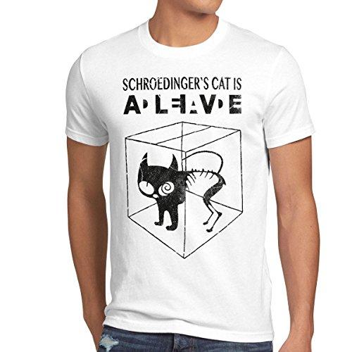 style3 style3 Sheldon Schroedingers Katze Herren T-Shirt, Größe:M;Farbe:Weiß