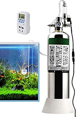 JIAWANSHUN 4L Aquarium CO2 Generator System with Timer Solenoid Valve&Diffuser for Aquarium Tank
