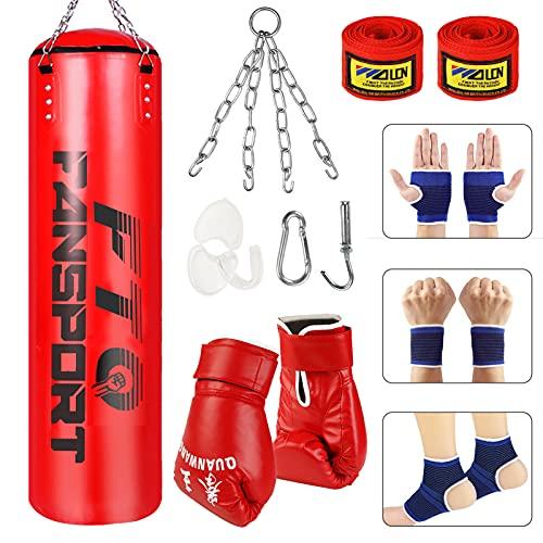 Fansport 14 PCS Boxsack,3.2 FT Boxing Bag mit Boxhandschuhen Boxbandagen und Tasche, Mundschutz für Boxen, Kampfsport Kickboxen, Muay Thai(Rot)