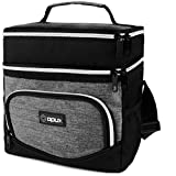 OPUX Insulated Dual Compartment Lunch Box for Men Women | Double Deck Leakproof Reusable Soft Lunch Bag Tote with Shoulder Strap for Work Office School Kid | Lunch Pail, Fits 12 Cans, Heather Gray