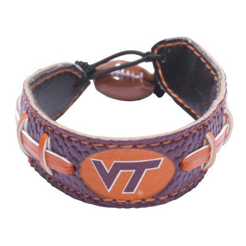 GameWear NCAA Virginia Tech Hokies Team Color Leather Football Bracelet