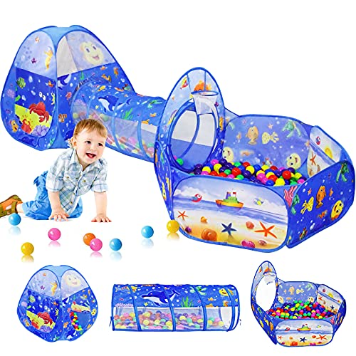 3PC Kids Ball Pits for Toddlers with Kids Play Tent, Kids Tunnel for Baby, Children Pop Up Indoor Outdoor Playhouse Toy for Boys and Girls, Best Birthday Gifts for2 3 4 5 Years Old (Ocean 3pc)