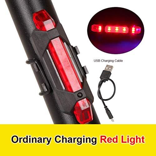 FSHB 1-teiliges Fahrrad Fahrradlicht LED Rücklicht Wasserdichtes Rücklicht Sicherheitswarnung Fahrradlicht USB Wiederaufladbare 4-Modi-Lampe, rot