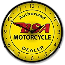 New BSA Motorcycle Retro Vintage Style Advertising Backlit Lighted Clock - Ships Free Next Business Day to Lower 48 States